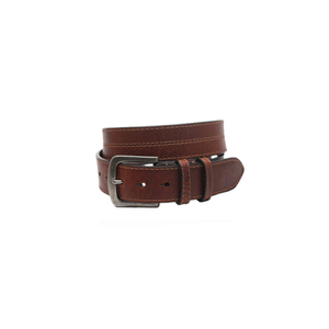 Mens Torino Waxed Shrunken Bison Leather Belt in Brown - Brother's on the Boulevard