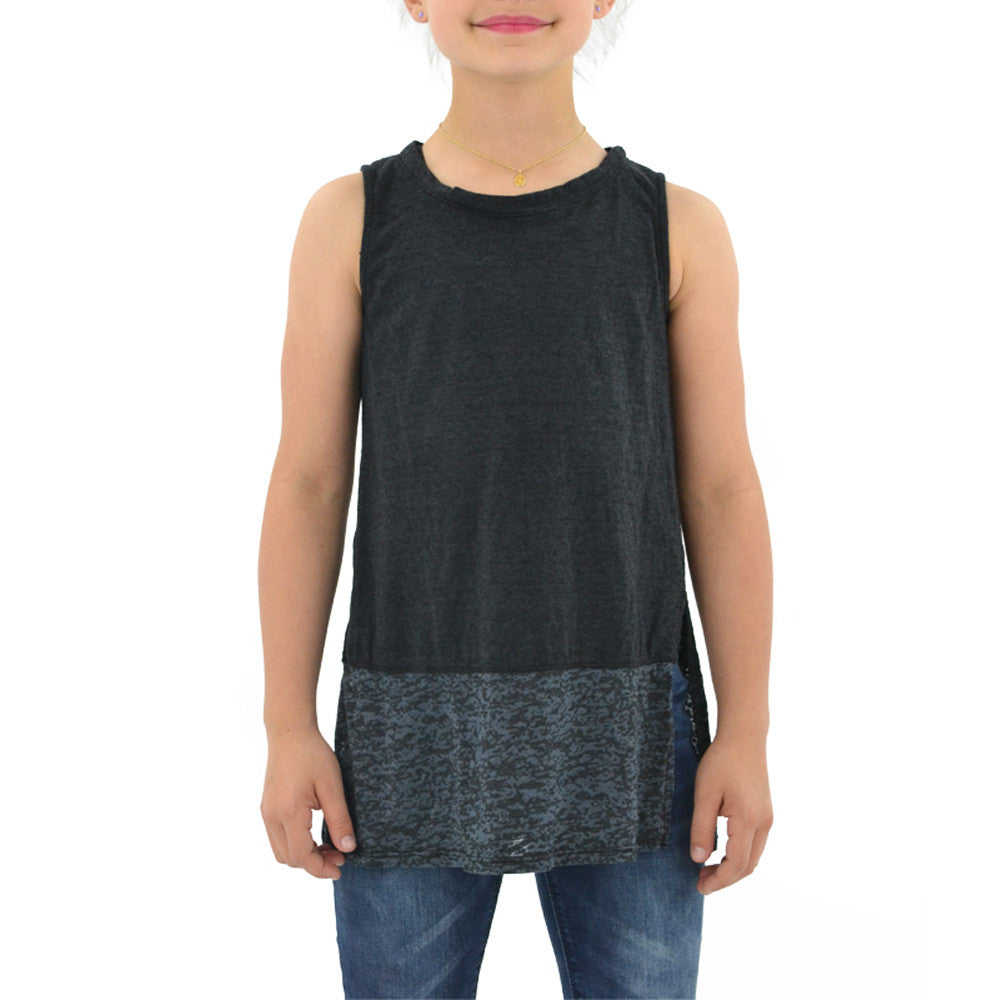 Tween Girls Weekend Vibes Girls Burnout Combo Tank in Black - Brother's on the Boulevard