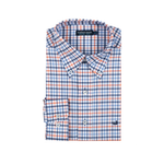 Mens Southern Marsh Chambers Performance Gingham Dress Shirt in Navy and Coral - Brother's on the Boulevard