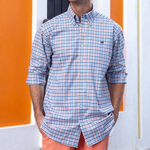 Southern Marsh Chambers Performance Gingham Dress Shirt in Navy and Coral