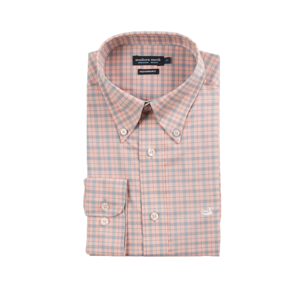 Mens Southern Marsh Idlewild Performance Gingham Dress Shirt in Slate and Peach - Brother's on the Boulevard