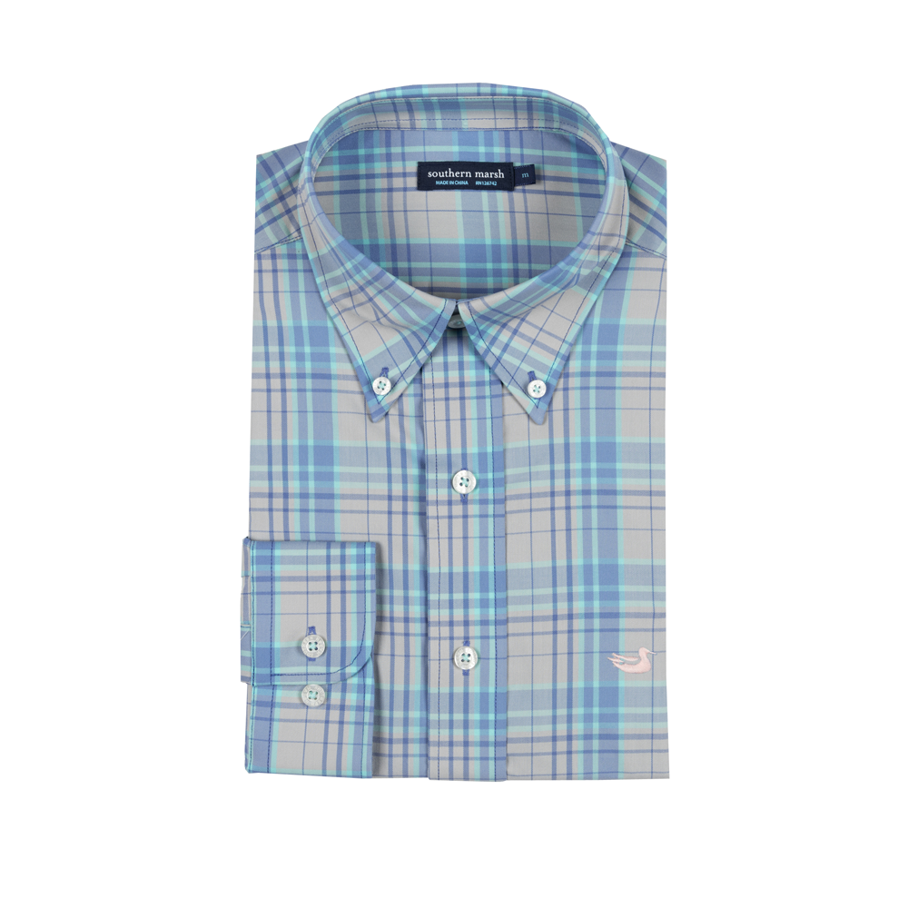 Mens Southern Marsh Louisville Performance Dress Shirt in Blue and Grey - Brother's on the Boulevard