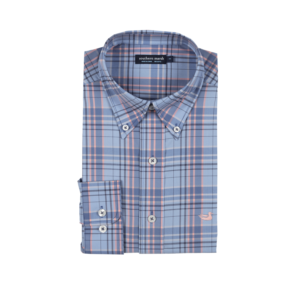 Mens Southern Marsh Louisville Performance Dress Shirt in Blue and Navy - Brother's on the Boulevard