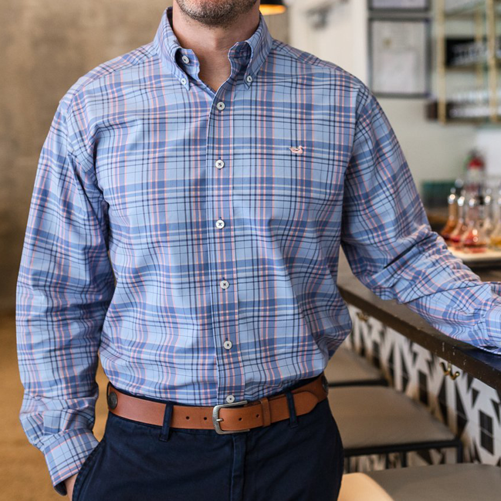 Southern Marsh Louisville Performance Dress Shirt in Blue and Navy