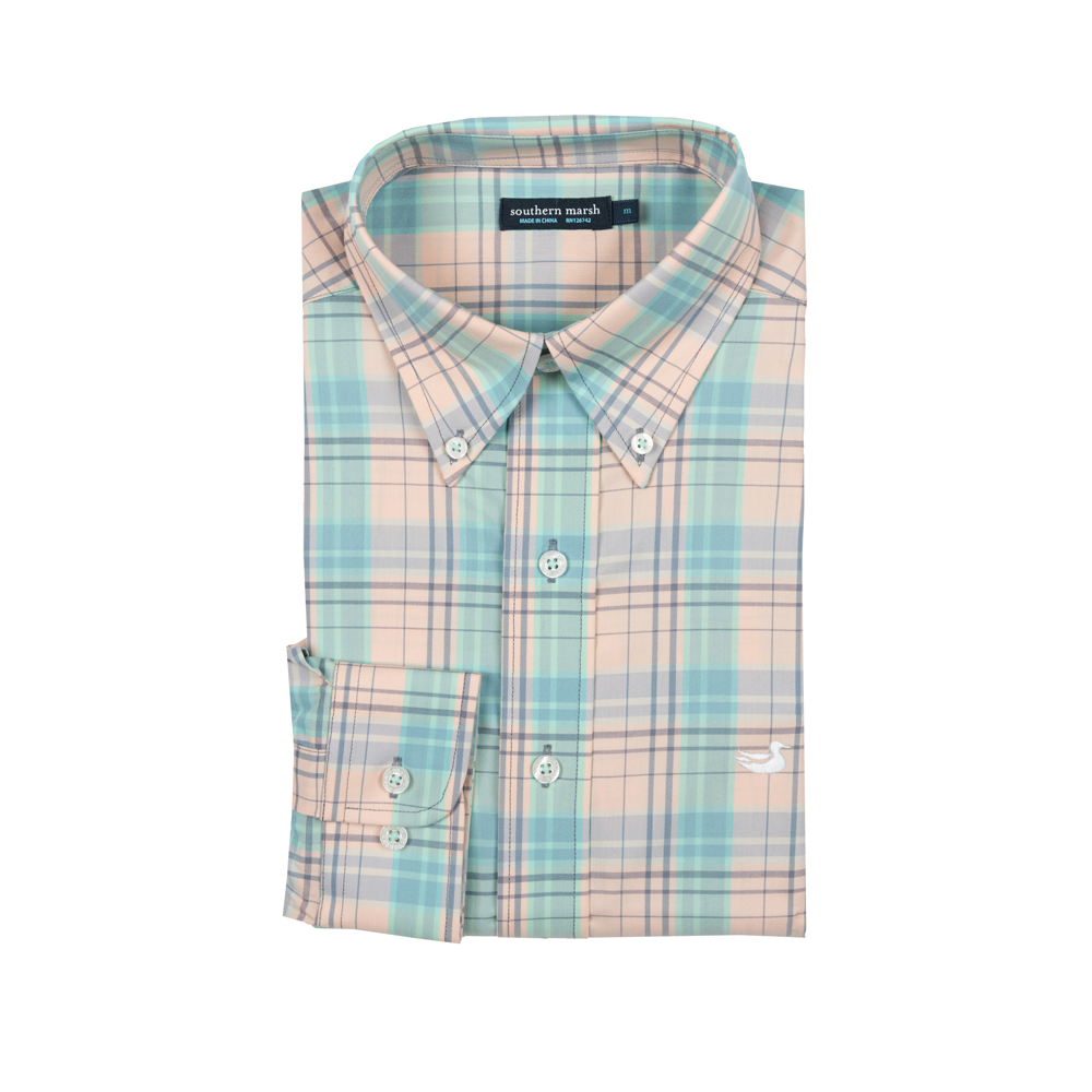 Southern Marsh Louisville Performance Dress Shirt in Peach and Mint