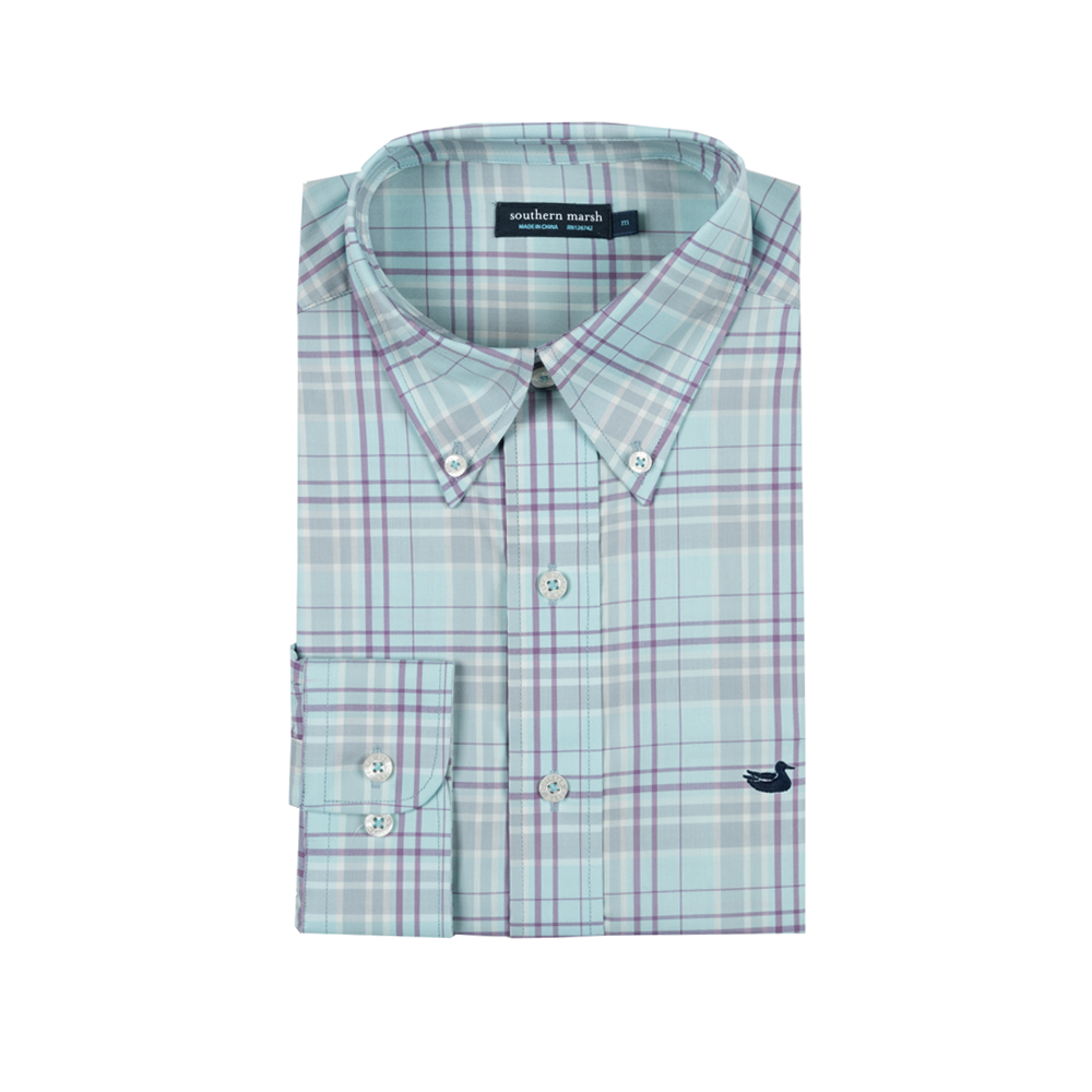 Mens Southern Marsh Louisville Performance Dress Shirt in Sage and Light Blue - Brother's on the Boulevard