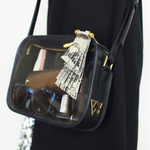 Kelly Wynne Clear Mingle Mingle Mama in Black With Boss Lady Tassel & Large Side Logo