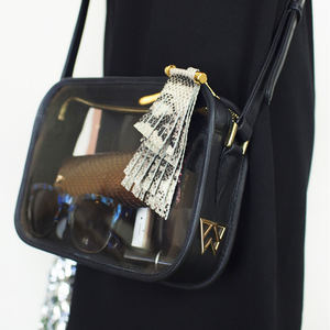 Womens Kelly Wynne Clear Mingle Mingle Mama Crossbody Bag with Tassel in Black - Brother's on the Boulevard