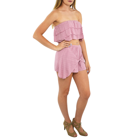 Womens Rouge Crop Top and Short Set in Lilac - Brother's on the Boulevard