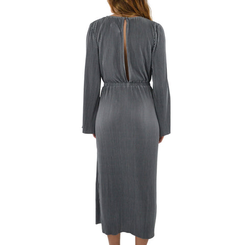 Catherine Kate Grand Pleat Long Dress in Charcoal
