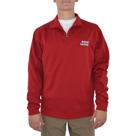 Cutter & Buck UL Ragin Cajuns DryTec Edge Half Zip Pullover in Red