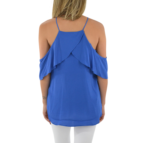 Womens Fifteen Twenty Cold Shoulder Top in French Blue - Brother's on the Boulevard
