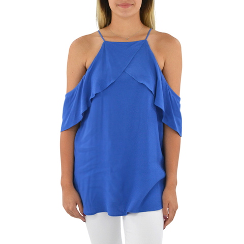 Fifteen Twenty Cold Shoulder Top in French Blue