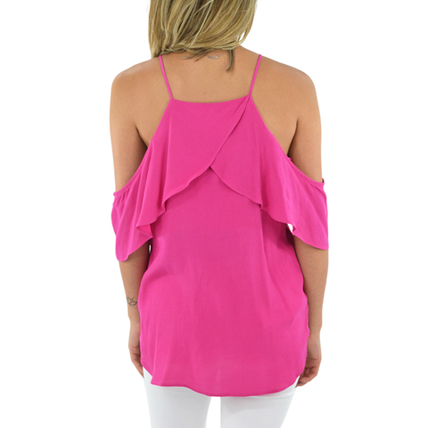 Fifteen Twenty Cold Shoulder Top in Pink