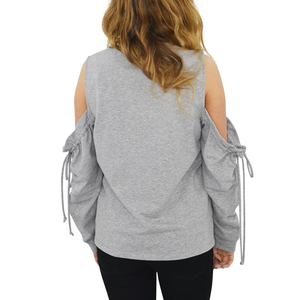 Womens Maven West Cold Shoulder Sweatshirt in Heather Grey - Brother's on the Boulevard