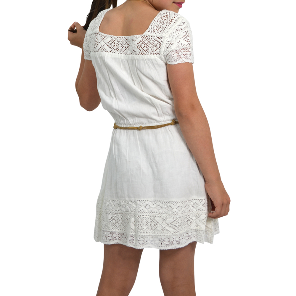Tween Girls Ella Moss Girls Crochet Dress with Faux Leather Belt in White - Brother's on the Boulevard