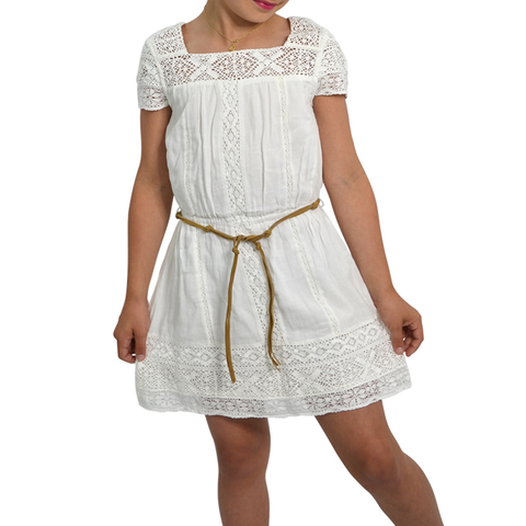 Girls Ella Moss Crochet Dress with Faux Leather Belt in White