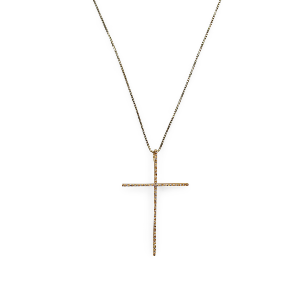 Womens Gold + Stone Cross Necklace in Gold - Brother's on the Boulevard