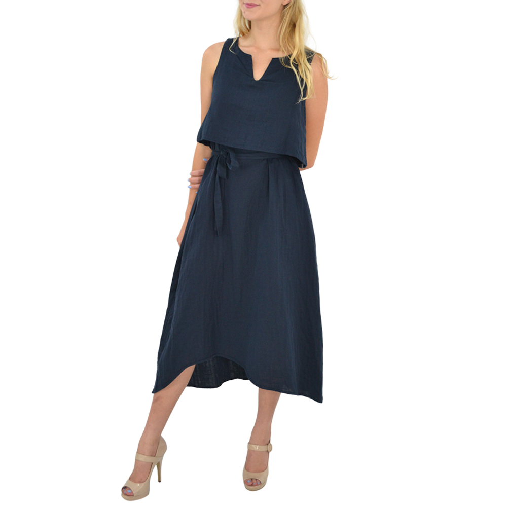 Poche 1913 Three Way Reversible Dress in Navy