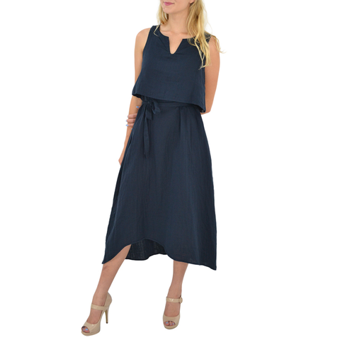 Womens Poche 1913 Three Way Reversible Dress in Navy - Brother's on the Boulevard