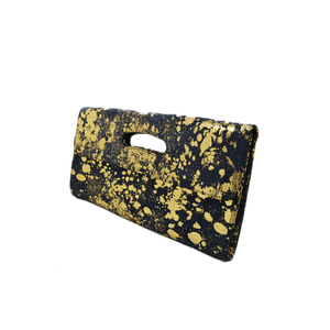 Womens Cofi Leather Deeva Clutch in Navy Gold - Brother's on the Boulevard