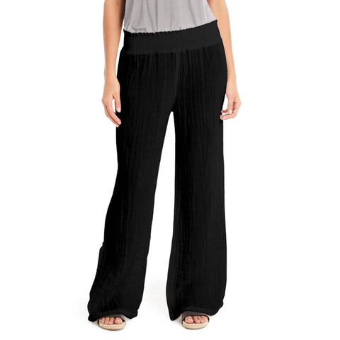 Womens Michael Stars Smock Waist Gauze Pant in Black - Brother's on the Boulevard