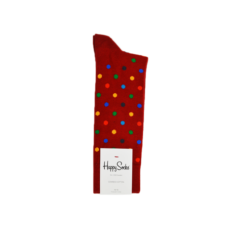Mens Happy Socks Dots Sock in Red Multi - Brother's on the Boulevard