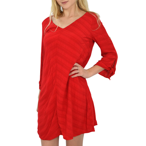 Michael Stars V Neck 3/4 Sleeve Shift Dress in Salsa