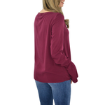 Womens Michael Stars Long Sleeve Knotted Top in Pinot - Brother's on the Boulevard