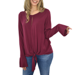 Michael Stars Long Sleeve Knotted Top in Pinot