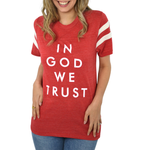 Womens The Light Blonde In God We Trust in Red - Brother's on the Boulevard