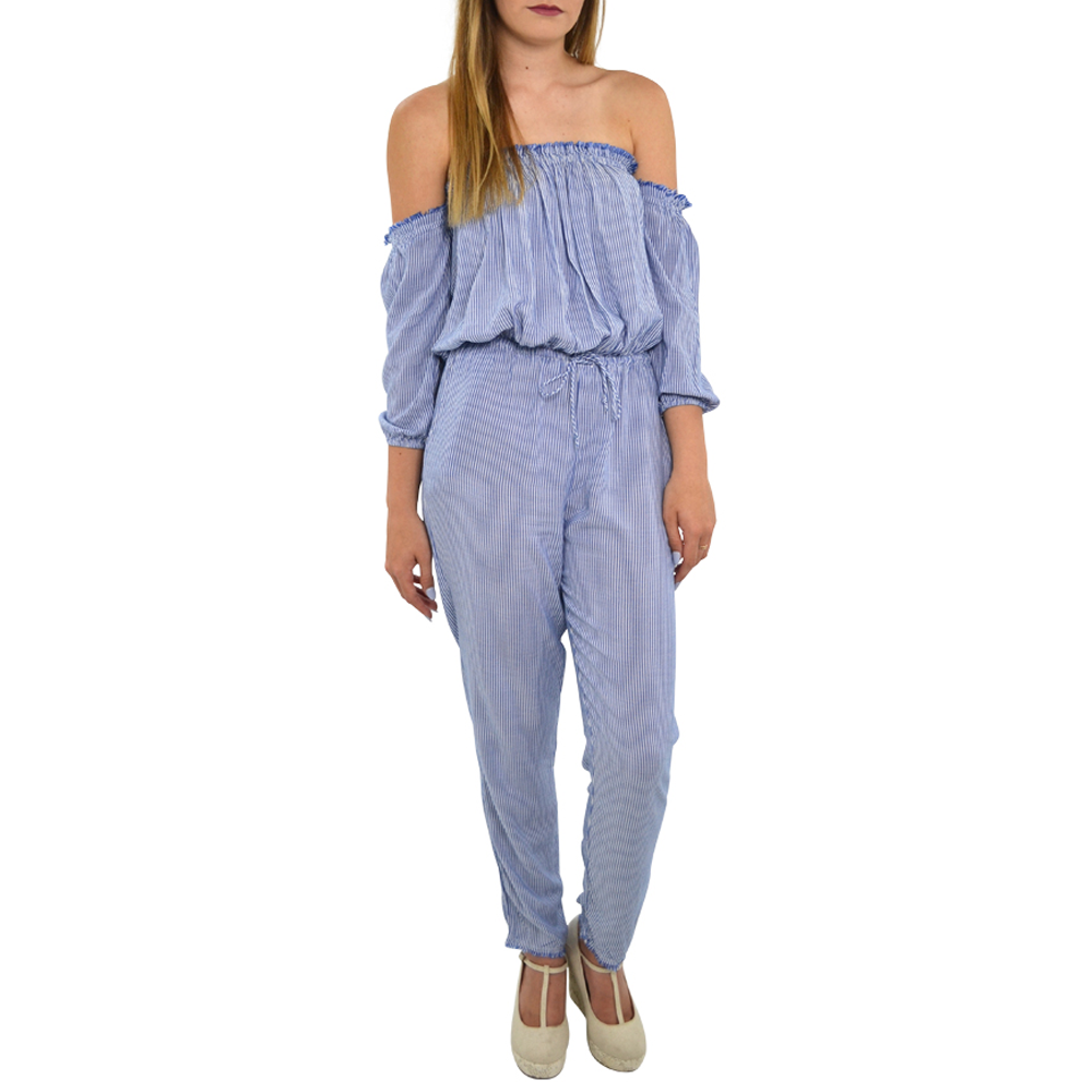 Weekend Vibes Pin Stripe Jumpsuit in Blue