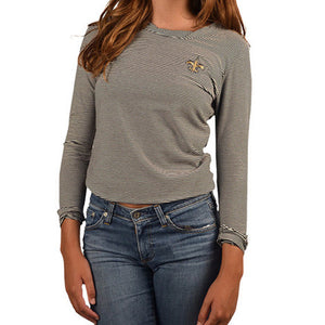 Womens Cutter & Buck Long Sleeve New Orleans Saints Infield Knit in Harbor Stripe - Brother's on the Boulevard