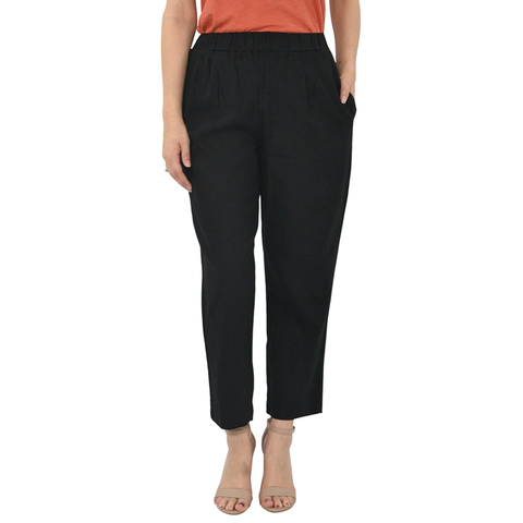Womens Poche 1913 Pull On Linen Blend Pants in Black - Brother's on the Boulevard