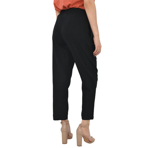 Poche 1913 Pull On Linen Blend Pants in Black