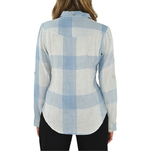 Womens Poche Gauze Plaid Shirt in Denim - Brother's on the Boulevard