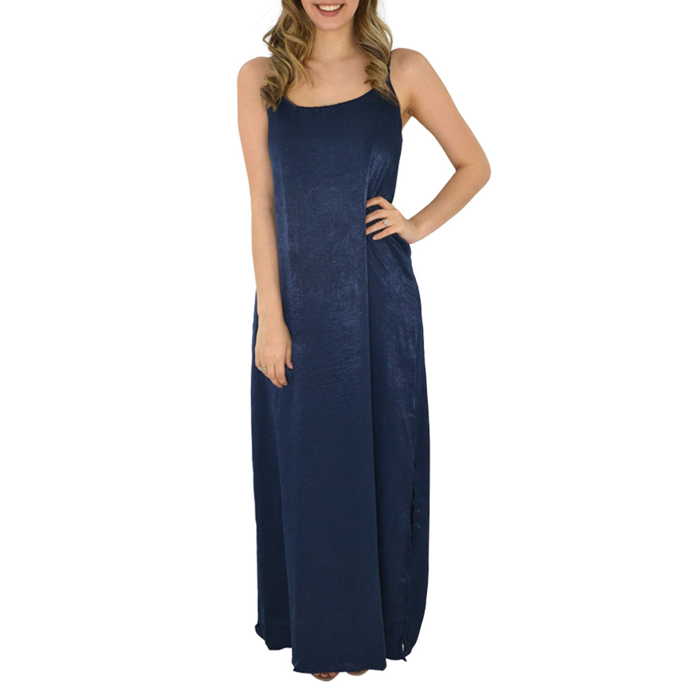 PPLA Bianca Woven Maxi Dress in Navy