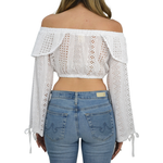 Womens Weekend Vibes Off Shoulder Crop Top in White - Brother's on the Boulevard