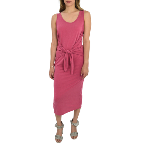 Womens Rouge Maxi Sleeveless Tie Front Dress in Raspbery - Brother's on the Boulevard