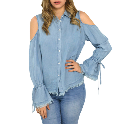Womens Velvet Heart Aerona Cold Shoulder Top in Light Blue - Brother's on the Boulevard