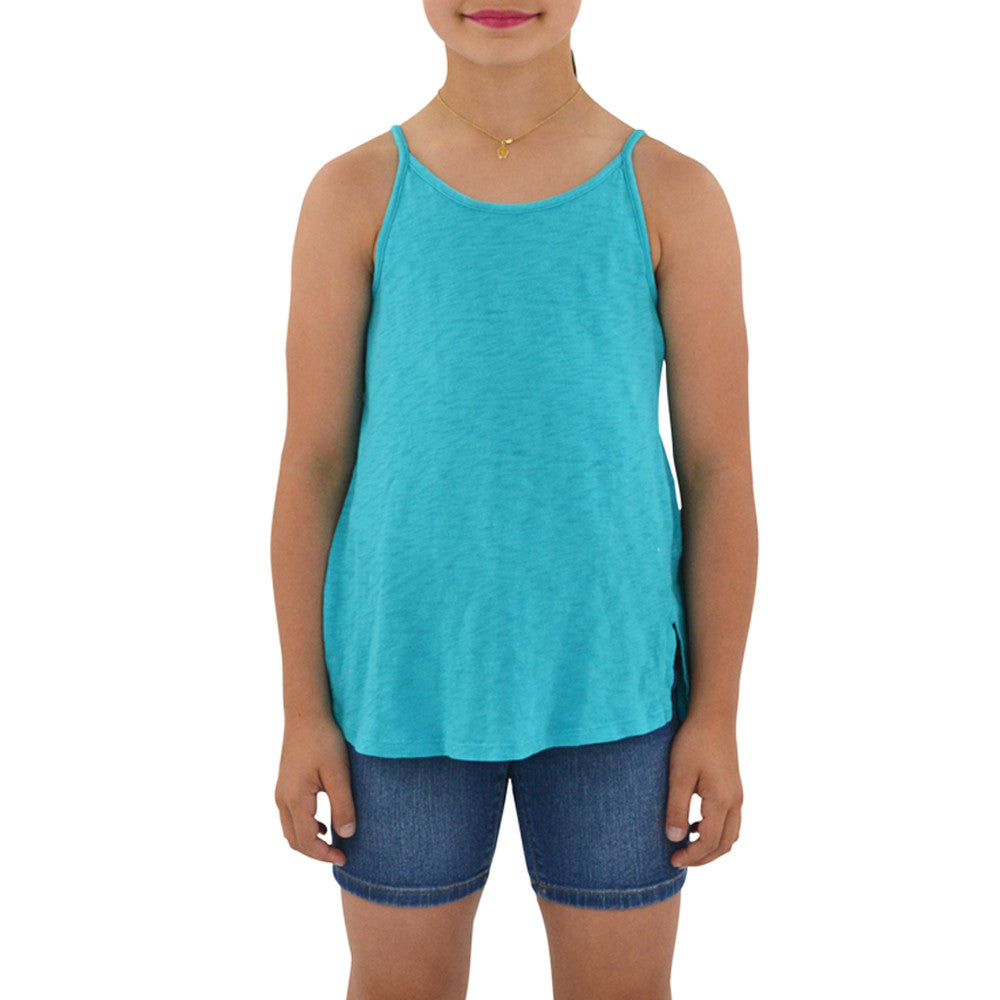 Weekend Vibes Girls Vintage Slub Jersey Swing Tank in Teal
