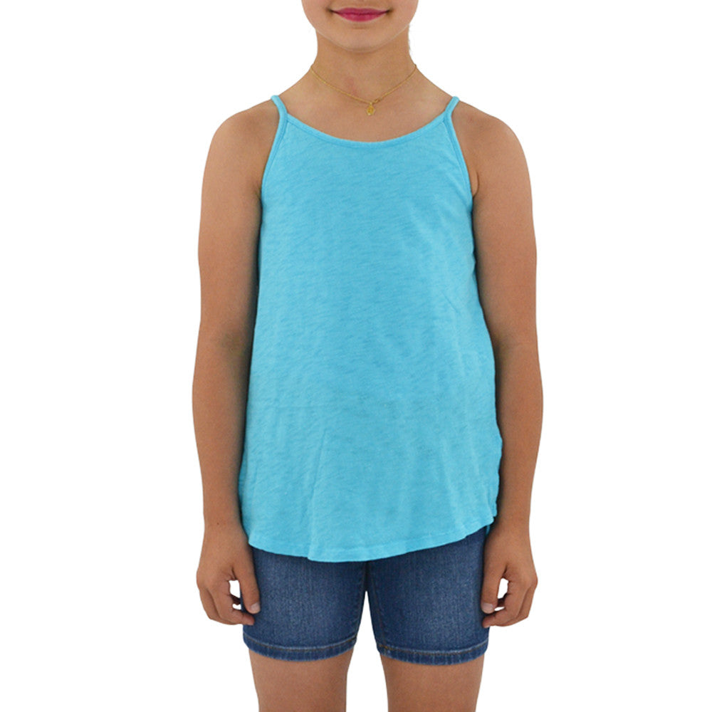 Weekend Vibes Girls Vintage Slub Jersey Swing Tank in Blue