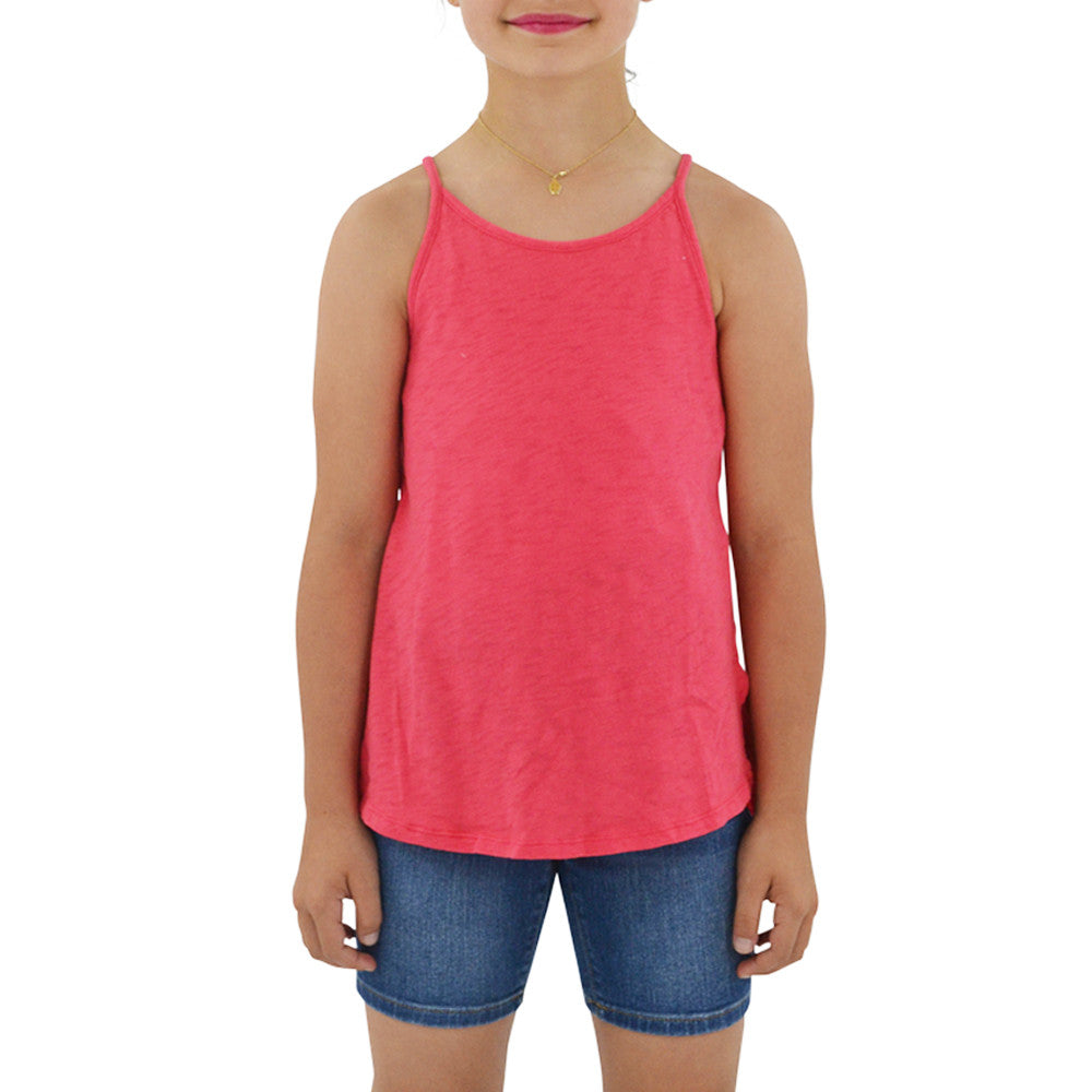 Weekend Vibes Girls Vintage Slub Jersey Swing Tank in Pink
