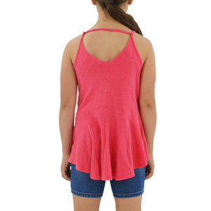 Tween Girls Weekend Vibes Girls Vintage Slub Jersey Swing Tank in Pink - Brother's on the Boulevard