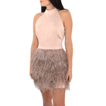 Catherine Kate Feather Dress in Rose