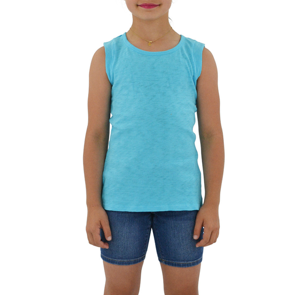 Tween Girls Weekend Vibes Girls Vintage Cutout Muscle Tee in Blue - Brother's on the Boulevard