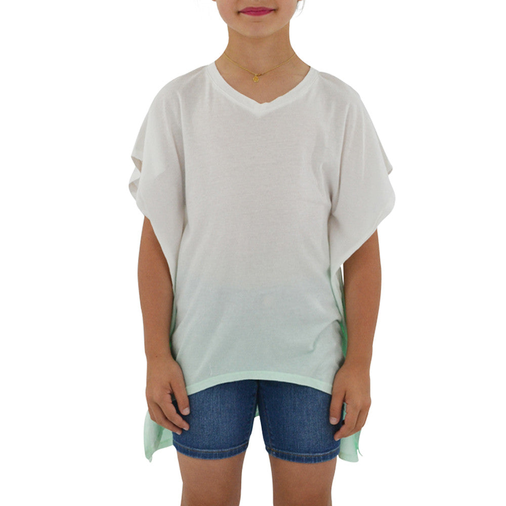 Ragdoll & Rockets Girls Jersey V-Neck Tunic in Mint Dip Dye