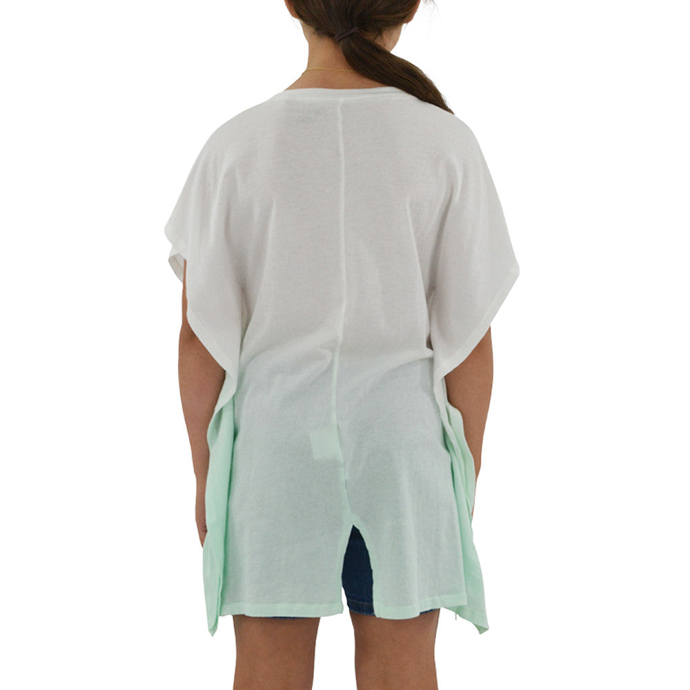 Tween Girls Ragdoll & Rockets Girls Jersey V-Neck Tunic in Mint Dip Dye - Brother's on the Boulevard