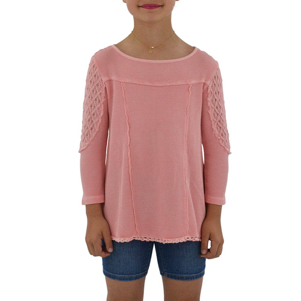 Weekend Vibes Girls Crochet Tunic in Rose