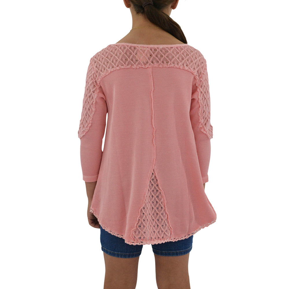 Tween Girls Weekend Vibes Girls Crochet Tunic in Rose - Brother's on the Boulevard